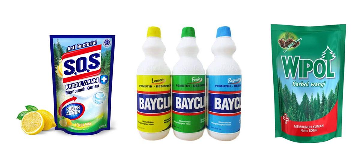 Contoh Produk yang dapat dijadikan bahan dalam membuat sendiri Disinfektan
