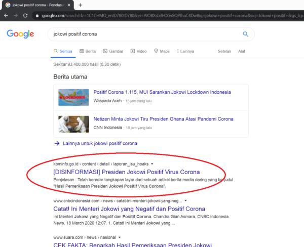 Hoax, Contoh hasil pencarian di Google